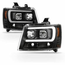 2007-2014 Chevy Suburban Tahoe Avalanche [Black Edition] LED DRL Projector Headlights