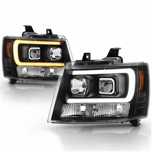 2007-2014 Chevy Suburban Tahoe Avalanche Switchback Signal Projector Headlights - Black