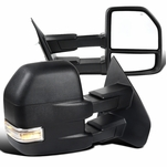 2007-2014 Ford F150 Power Heated Telescoping Tow Mirrors+LED Signal - Black