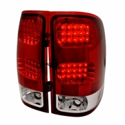 2007-2014 GMC Sierra 1500 2500 Denali Euro Style LED Tail Lights - Red Clear