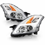 2008-2009 Altima 2-Door Coupe Chrome LED Tube Projector Headlights Headlamps