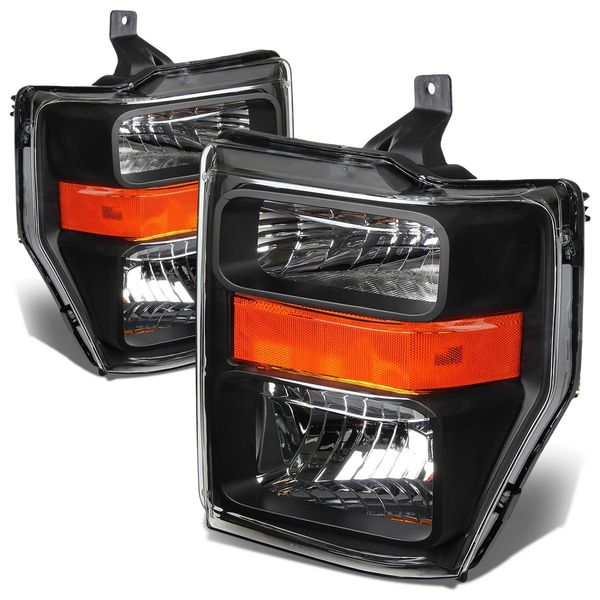 2008-2010 Ford F250 F350 SuperDuty Crystal Replacement Headlights - Black