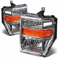 2008-2010 Ford F250 F350 SuperDuty Crystal Replacement Headlights - Chrome