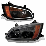 2008-2011 Kenworth T660 LED DRL / Signal Projector Headlights - Black