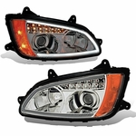 2008-2011 Kenworth T660 LED DRL / Signal Projector Headlights - Chrome