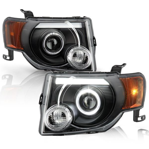 2008-2012 Ford Escape SUV Black Housing LED Tube Halo Projector Headlights