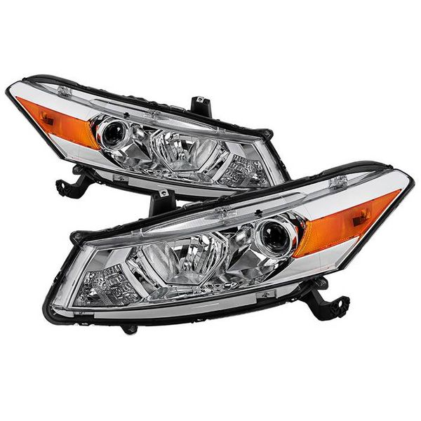 2008-2012 Honda Accord 2-Door Coupe [Factory Style] Chrome Housing Headlights Headlamps Driver & passenger