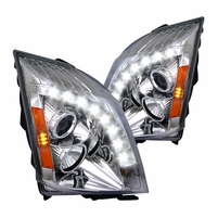 2008-2014 Cadillac CTS [Halogen Model] LED DRL Projector Headlights - Chrome