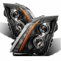 2008-2014 Cadillac CTS [Halogen Model Only] Replacement Projector Headlights - Black