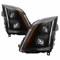 2008-2014 Cadillac CTS [Halogen Model] Switchback LED Signal Projector Headlights - Black