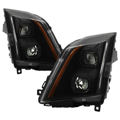 2008-2014 Cadillac CTS [Halogen Model] Switchback LED Signal Projector Headlights - Black / Smoked