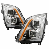 2008-2014 Cadillac CTS [Halogen Model] Switchback LED Signal Projector Headlights - Chrome