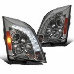 2008-2014 Cadillac CTS LED DRL Projector Headlights - Smoked
