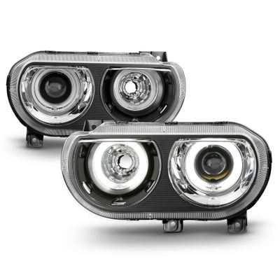 2008-2014 Dodge Challenger [HID Model] LED CCFL Halo Projector Headlights - Black