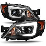 2008-2014 Subaru Impreza WRX STI [HID Type] LED DRL Tube Black Bazel Projector Headlights
