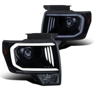 2009-2004 Ford F150 LED DRL Projector Headlights - Smoked