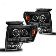 2009-2013 Ford F-150 CCFL Angel Eye Halo + LED Strip Projector Headlights - Black