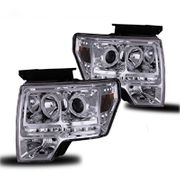 2009-2013 Ford F-150 CCFL Angel Eye Halo + LED Strip Projector Headlights - Chrome