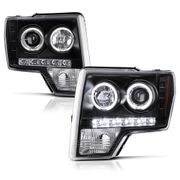 2009-2014 Ford F-150 Dual Angel Eye Halo & LED Projector Headlights - Black