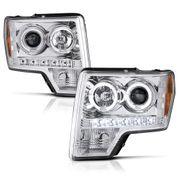 2009-2014 Ford F-150 Dual Angel Eye Halo & LED Projector Headlights - Chrome