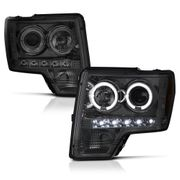2009-2014 Ford F-150 Dual Angel Eye Halo & LED Projector Headlights - Smoked