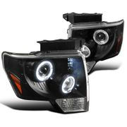 2009-2014 Ford F150 Angel Eye Halo & LED Projector Headlights - Black