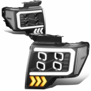 2009-2014 Ford F-150 LED DRL Halo Quad Projector Headlights - Black Clear