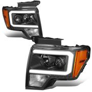 2009-2014 Ford F-150 Led Drl Tube Projector Headlights - Black / Amber