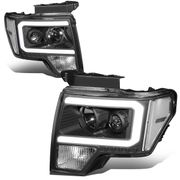 2009-2014 Ford F-150 Led Drl Tube Projector Headlights - Black / Clear