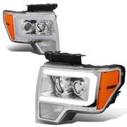 2009-2014 Ford F-150 Led Drl Tube Projector Headlights - Chrome / Amber