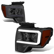 2009-2014 Ford F-150 Led Drl Tube Projector Headlights - Smoked Lens / Amber