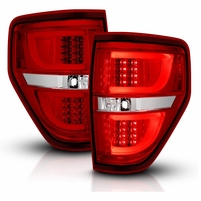 2009-2014 Ford F-150 LED Light-Tube Tail Lights - Red Clear