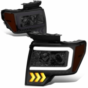 2009-2014 Ford F150 LED DRL Arrow Projector Headlight - Smoked / Amber