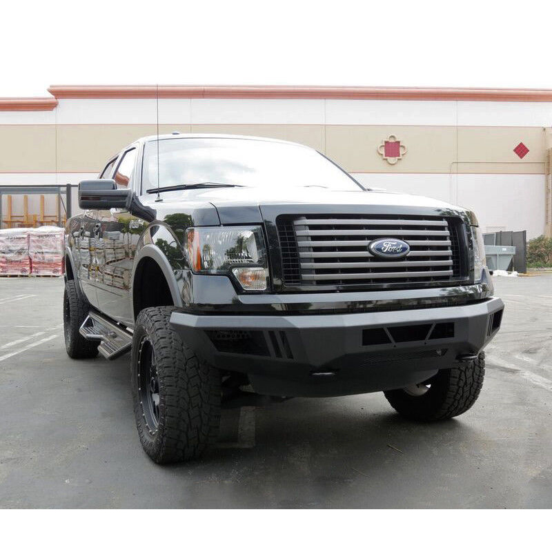 2009 2014 Ford F150 Raptor Style Black Steel Front Bumper Conversion