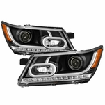 2009-2016 Dodge Journey LED Light Tube Projector Headlights - Black