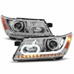 2009-2016 Dodge Journey LED Light Tube Projector Headlights - Chrome
