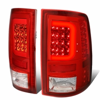 2009-2017 Dodge Ram 1500 2500 LED C-Tube Tail Lights - Red / Clear