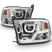 09-2018 Dodge RAM 1500 / 10-17 2500 3500 LED LED DRL Halo Projector Headlights - Chrome