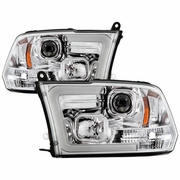 2009-2018 Dodge Ram 1500 10-18 2500 3500 Chrome LED DRL Switchback Projector Headlights