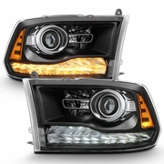 2009-2018 Dodge Ram 1500 2500 3500 Upgrade Style Black Housing LED DRL Projector Headlights