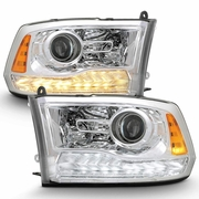2009-2018 Dodge Ram 1500 2500 3500 Upgrade Style Chrome Housing LED DRL Projector Headlights