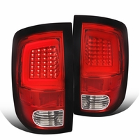 2009-2018 Dodge Ram 1500 2500 Optic-Style LED Tail Lights - Red Clear