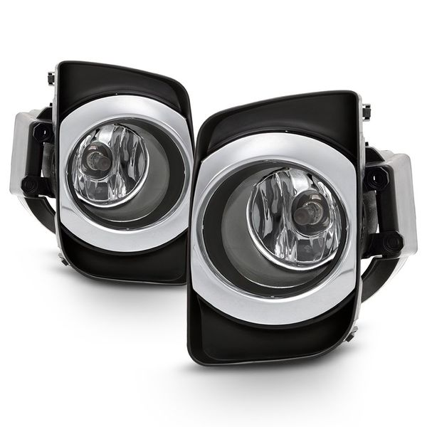 2010-2011 Toyota Camry Hybird Fog Lights Chrome Housing Clear Lens Full Set w/Switch