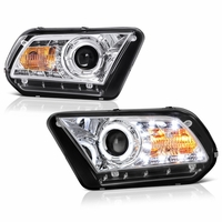 2010-2013 Ford Mustang Angel Eye Halo & LED Projector Headlights - Chrome