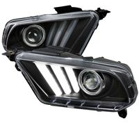 2010-2014 Ford Mustang Sequential LED DRL Bar Projector Headlights - Black