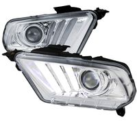2010-2014 Ford Mustang Sequential LED DRL Bar Projector Headlights - Chrome