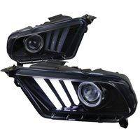 2010-2014 Ford Mustang Sequential LED DRL Bar Projector Headlights - Gloss Black