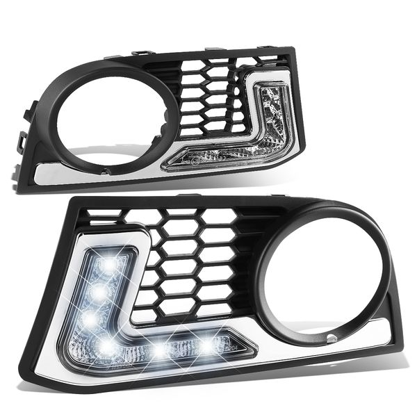 2011-13 BMW F10 5-Series Pair of Front Bumper Fog Light Bezel Integrated Day Time Running Lights - w/ M-Tech Bumpers