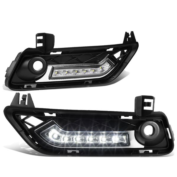 2011-14 BMW F25 X3 Pair of Front Bumper Fog Light Bezel Integrated Day Time Running Lights