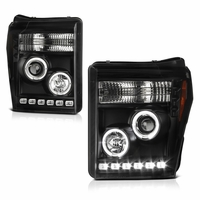2011-2016 Ford F250 F350 Superduty LED Halo Projector Headlights - Black